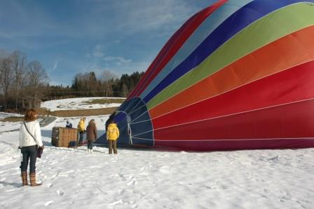 landing in the snow